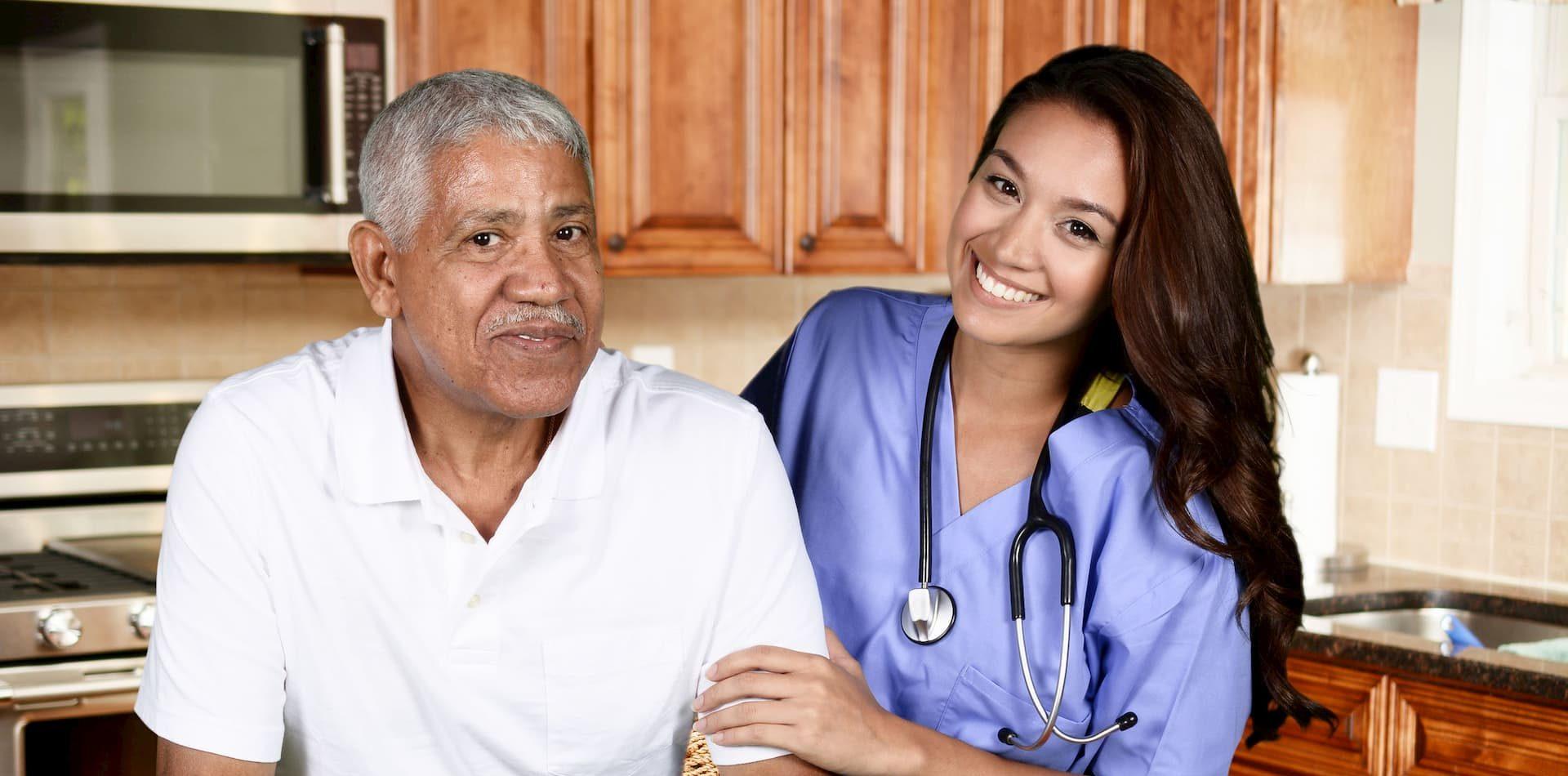black man with mixed race home health nurse