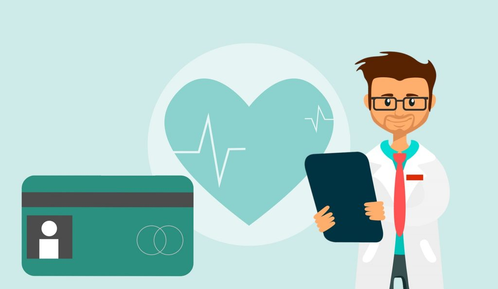 cartoon of health insurance card, heart with heartbeat and doctor holding tablet