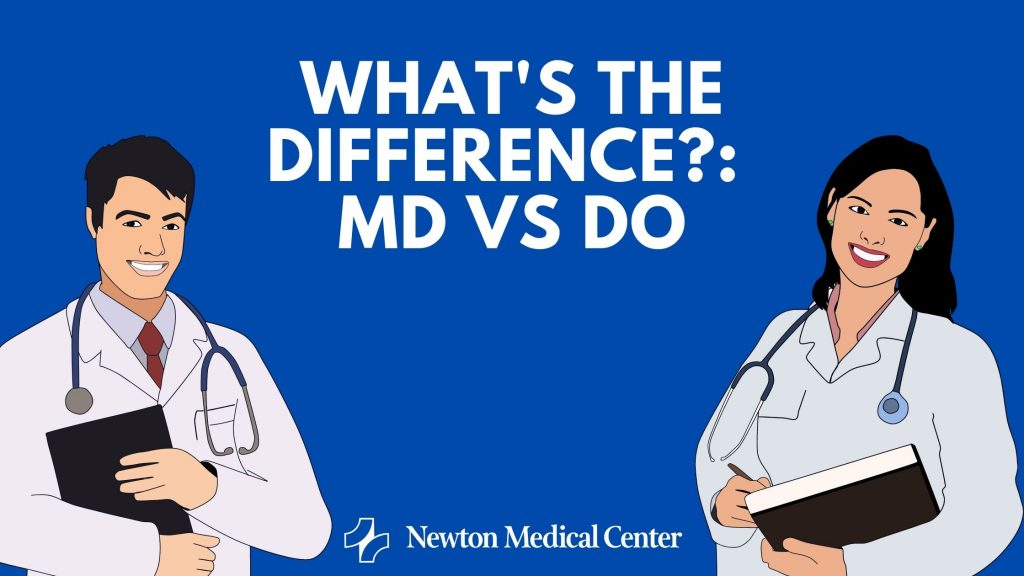 cartoon graphic with male and female doctor and what's the difference between MD vs DO