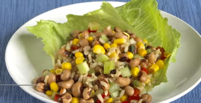 black-eye peas, corn and rice salad