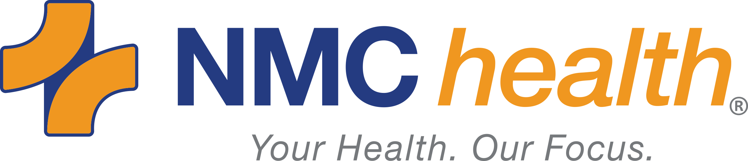 NMC Health logo newton ks blue and gold color logo with register mark and tagline