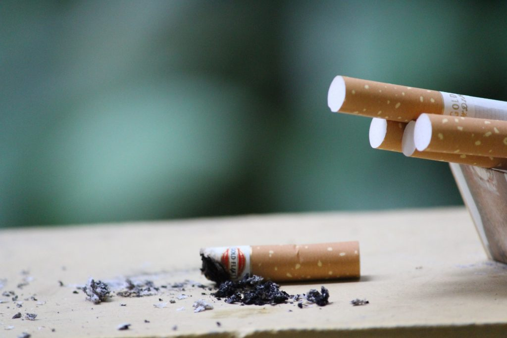 Cigarette butts put out for no smoking