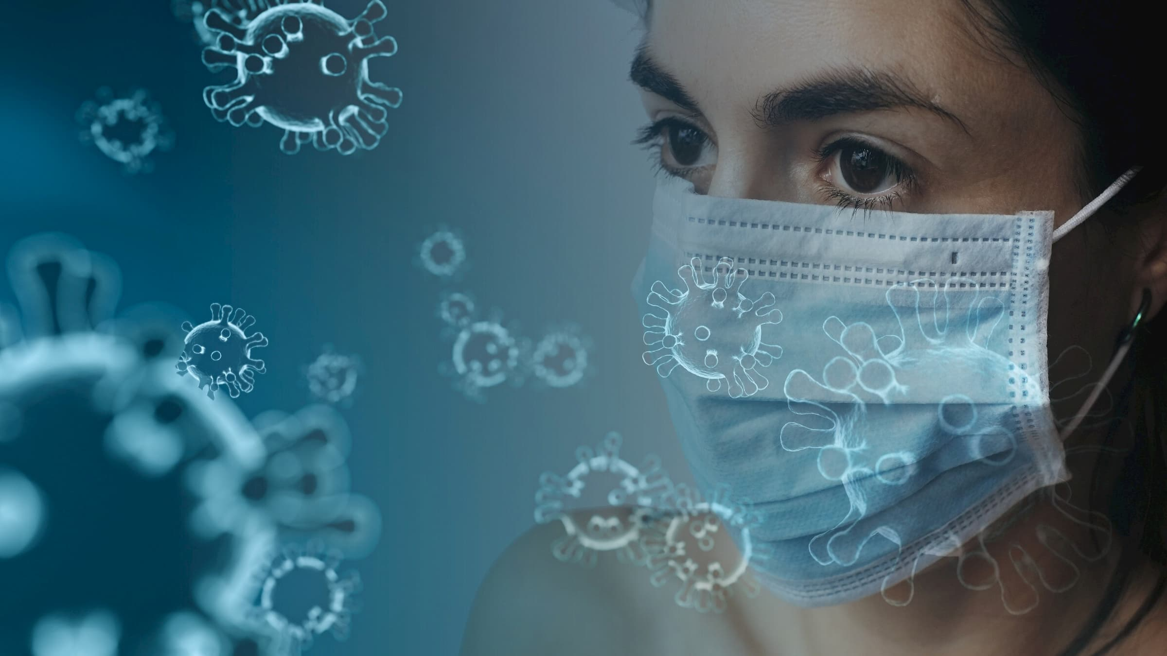 COVID-19 coronavirus background with a woman in a mask staring at virus