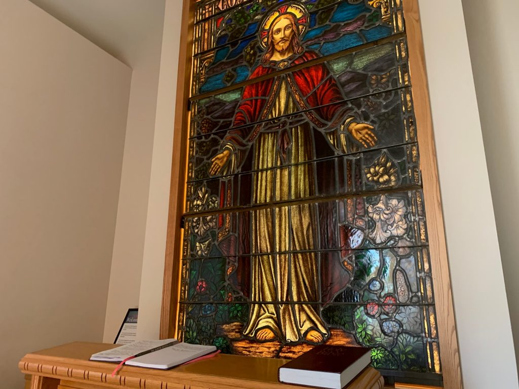 stainglass Jesus and altar for prayer, reflection and meditation inside nmc health medical center newton ks