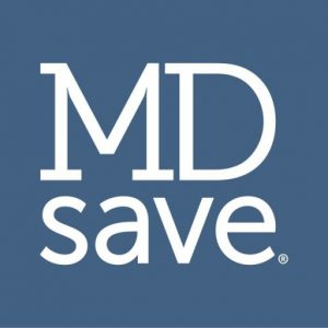 blue square with white font mdsave logo