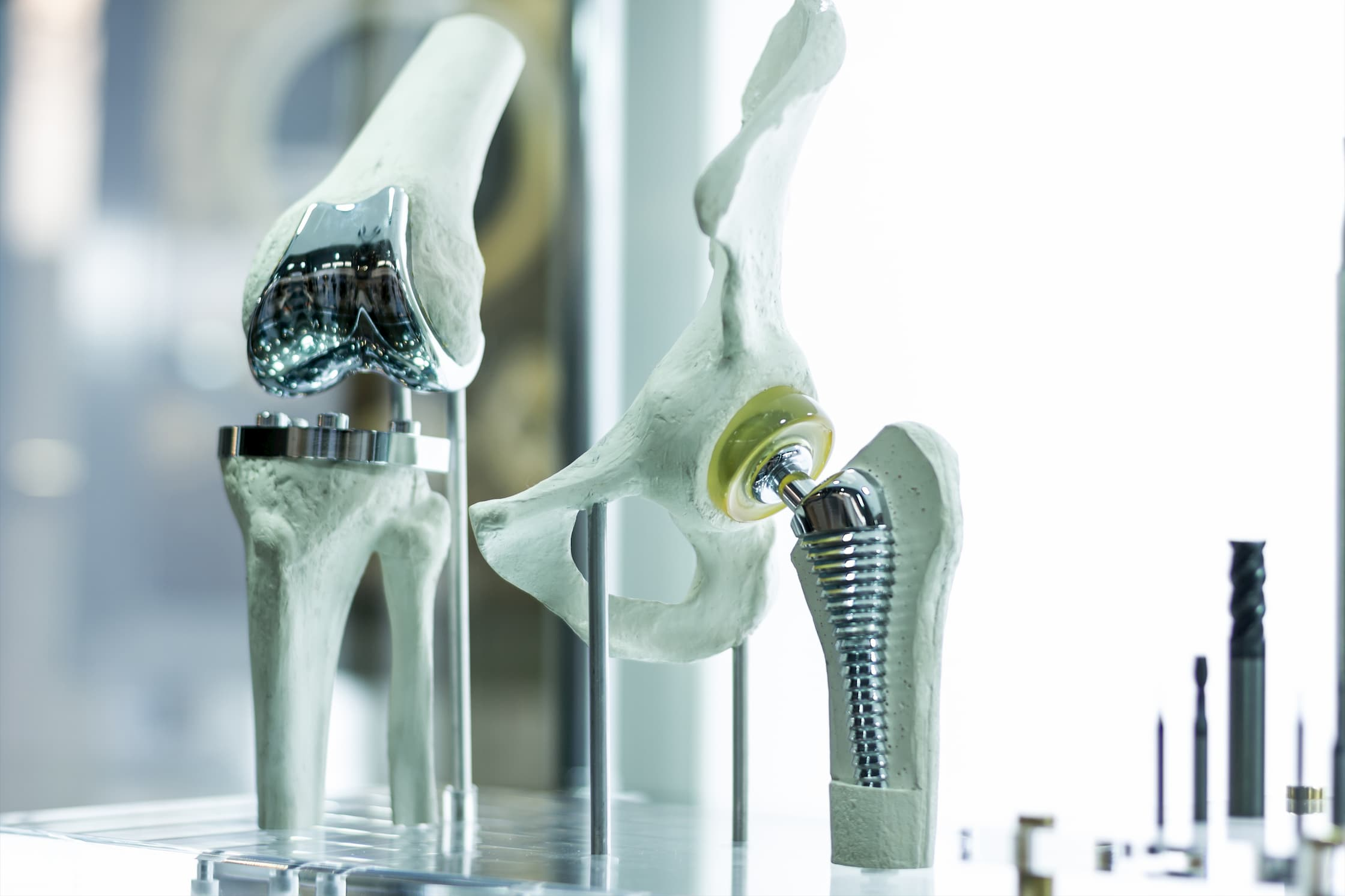 total knee replacement hip replacement models sitting on table