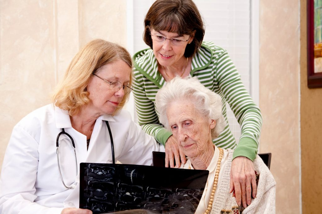 white senior woman with family and white doctor showing her brain scan talking about Alzheimer's and dementia care memory care