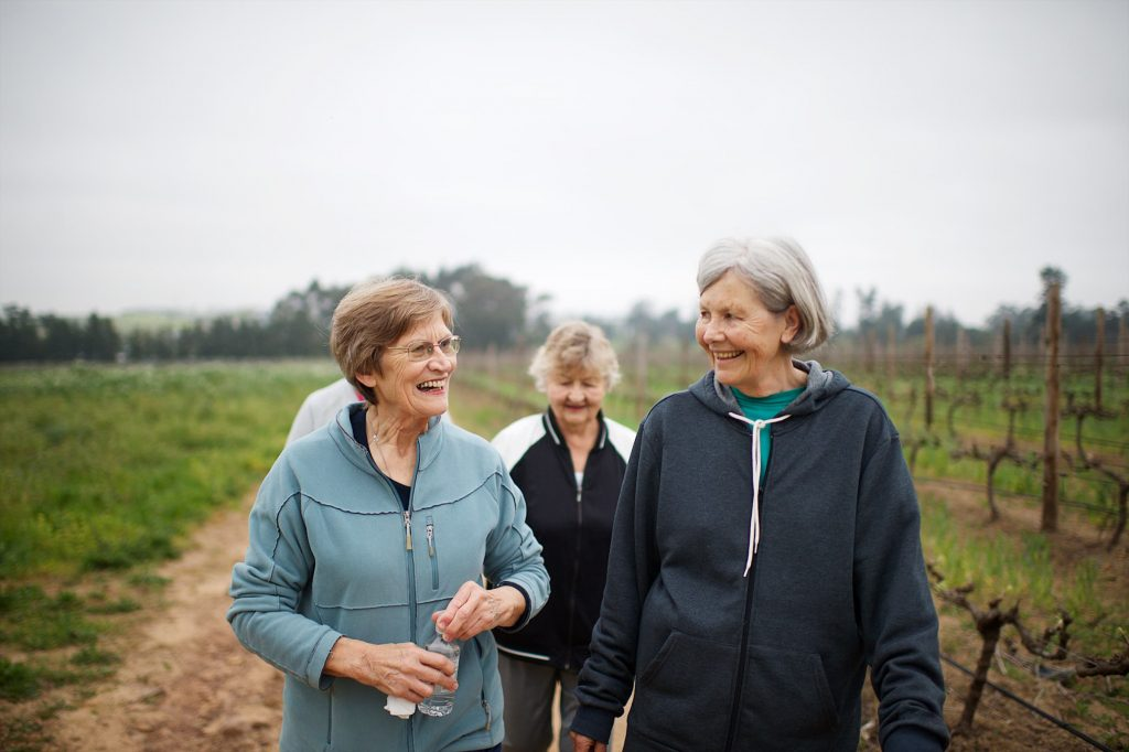 Four Active seniors women walking for exercise outdoors talking together on a misty morning