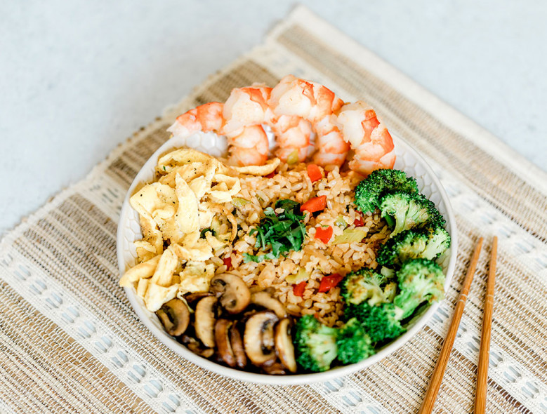 heart-healthy recipes - low carb veggie fried rice bowl from american diabetes association diabetes food hub recipes