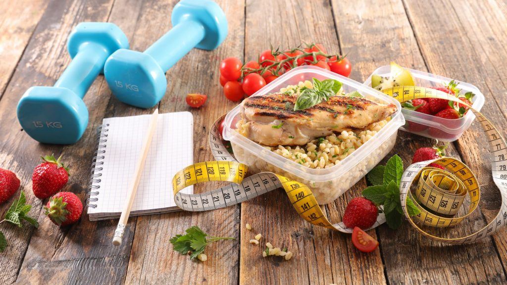 diabetes collage with meal prep, healthy food, notebook and pencil, dumbells and exercise meal plan with healthy workout eating healthy and exercising