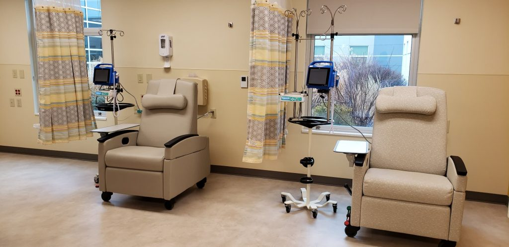 nmc health infusion center at nmc health medical center infusion chairs two bays with curtain in between