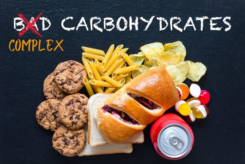 bad carbs complex carbs lots of carbs and startch bread cookies snacks etc.