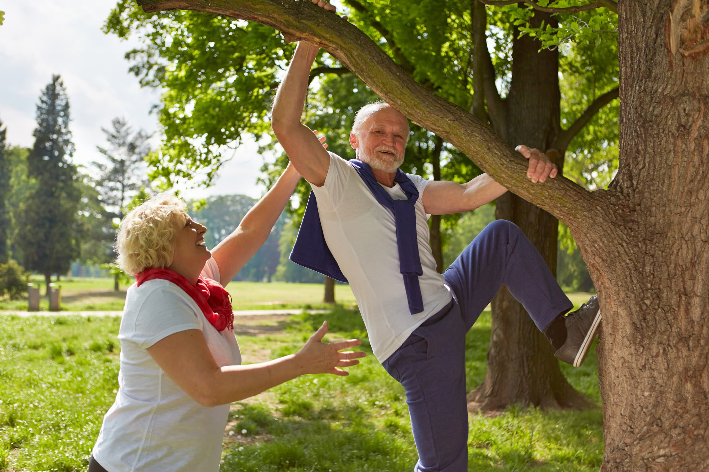Old man climbing with senior woman on a tree in a summer park