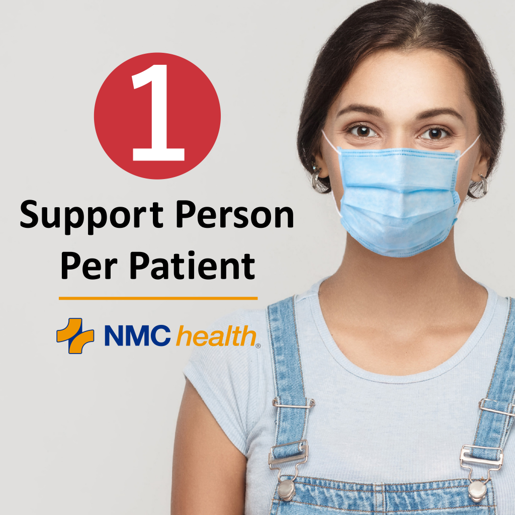 1 support person per patient at NMC Health